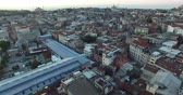 horn : ISTANBUL, TURKEY - OCTOBER 9, 2015: Dawn over the city of Istanbul panoramic view from the birds eye view: OCTOBER 9, 2015 in Istanbul, Turkey Stock Footage
