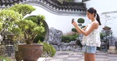 raiz : Woman taking photo on potted plant in chinese garden Stock Footage