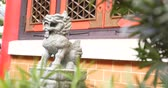 дворец : Lion rock stone statue in chinese temple