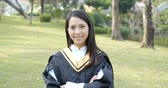 Asian young Woman graduation Stok Video