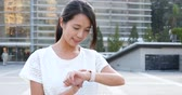 synchronization : Woman use of smart watch Stock Footage