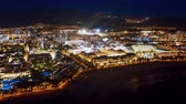 夜遊び : night View of the Golden mile area of the resort Playa de Las Americas Tenerife Canary Islands