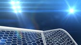 Shooting at Goal, 3d animation against sky background