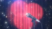 persianas : Microphone with Magic Particles against Blurred Red Curtains with Rotating Spotlights, Beautiful Background, Seamless Looped 3d Animation. 4K Vídeos