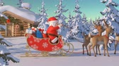 ren geyiği : Santa Claus with Reindeer Goes on the Way from House of Santa in Lapland. Beautiful 3d Animation with Northern Lights and Merry Christmas Text on a Green, So You Can Add It Anywhere and Whenever