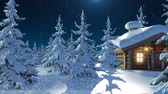 rena : Santa Claus with Reindeer Goes on the Way from House of Santa and Flies Against the Moon. Beautiful 3d Animation with Writing Merry Christmas and Happy New Year Texts on a Green, Full HD