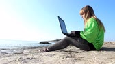 loughing : Girl chatting on the laptop. Stock Footage
