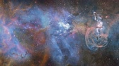 kulcslyuk : 4K Panoramic flight through a star nebula Stock mozgókép