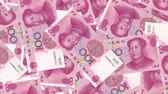 recession : 4K Banknote Field 100 Cny Stock Footage