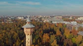 architectural : Drone photo view of the tower in the Park of the Polytechnic University Stock Footage