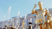 waterworks : Golden sculptures of the main cascade of fountains in Peterhof, a suburb of St. Petersburg