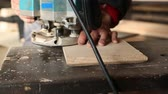furniture : Joiner handles milling machine wooden parts for furniture Stock Footage