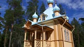 restauração : Restored wooden church on the island of Valaam on Lake Ladoga in northern Russia