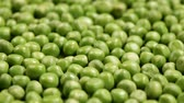 abundante : Sliding in front of shelled peas layer - abundance concept, medium closeup, sliding camera