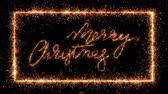 saudações : Merry christmas writing in sparkler twinkles appear inside similar frame animation - design element on black background, for any dark setting