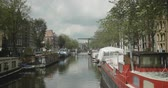 establishing shot : Cinematic establishing shot of an Amsterdam canal.
