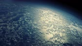 kartografie : Flying over the Earths clouds. 4K animation with realistic cloud displacement.