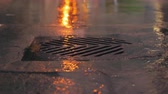 asfalt : Rain falling in slow motion down a sewer drain at night in the city.