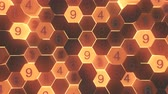 octagon : 4K Abstract Honeycomb Grid With Random Numbers. Seamless Loop. Stock Footage