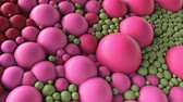 yansıma : 4K Abstract spheres, molecules, cells. Colorful animation suitable for a wide variety of concepts. Stok Video