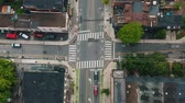 routes : 4K Establishing shot of an intersection in Downtown Toronto. Aerial footage.
