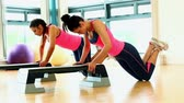 passos : Fit women training their arms with sports exercise in fitness hall Vídeos