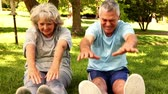 físico : Retired couple exercising together outside on a sunny day Stock Footage