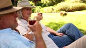 prato : Retired couple sitting in deck chairs drinking wine on a sunny day