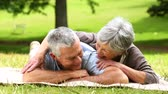 aposentadoria : Senior couple relaxing in the park lying on a blanket on a sunny day