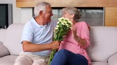 maravilhado : Senior man surprising partner with flowers on the couch at home in the living room Stock Footage