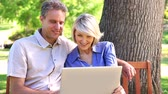 prato : Affectionate couple sitting on park bench using laptop on a sunny day Stock Footage