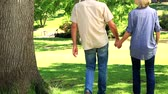 prato : Happy couple walking in the park on a sunny day Stock Footage