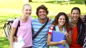 campus : Happy students smiling at camera together on a sunny day Stock Footage