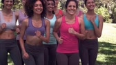 filmagens : Fitness class jogging on the spot together in slow motion Vídeos