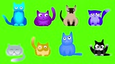 buzki : Musical cats on green screen looped animation. Funny colorful collection of cute fur characters.