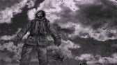 Survivor stands on the mountain of the dead and breathes against the background of running clouds. End of the world. Animation in genre of horror. Zombie apocalypse. Vídeos
