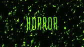 terrível : Animation of the word horror on the background of green slime. Stock Footage