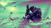 genre : Soldier is waiting the evacuation. Landing spacecraft. Animation in science fiction genre.