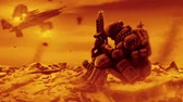 Soldier is waiting the evacuation. Landing spacecraft. Animation in science fiction genre.