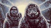 бункер : Two people in protective suits examine area. Danger zone. Animation in horror genre.