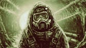 гелий : Man in protective suit and gas mask. Infection area. Animation in horror genre. Green background color. Стоковые видеозаписи