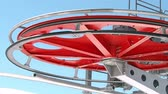 cabos : Rotating red pulley wheel or sheave