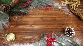 espaço para o texto : Christmas wooden background with snow branch. Top view with copy space for your text