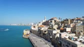 kamie�� : Aerial footage of the old city of Jaffa and tel Aviv skyline Wideo