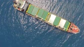 bulker : General cargo ship at sea - Aerial footage