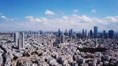 Tel Aviv skyline with skyscrapers - Aerial footage