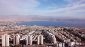 Eilat, Israel - Aerial footage over Solomons mountains, revealing Eilats skyline and the red sea