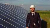 pilas : Solar energy station, satisfied business client walking and looking at solar panels.