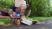 hoffnungslosigkeit : Old poor man living in the streets.