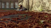 dakloze : Fooage of fallen leaves on ground and homeless man sleeping on ground on backdrop. Stockvideo